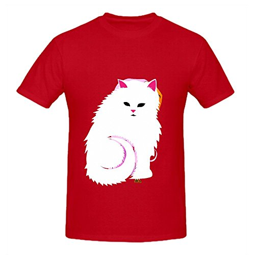 fluffy-white-cat-men-o-neck-customized-t-shirts-red