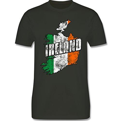 EM 2016 - Frankreich - Ireland Umriss Vintage - Herren Premium T-Shirt Army  Grün