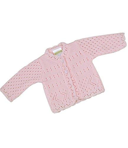 BabyPrem Frühchen Babykleidung StrickJäckchen Pullover Spitzen Mädchen Unisex 38-44cm ROSA PREM 2