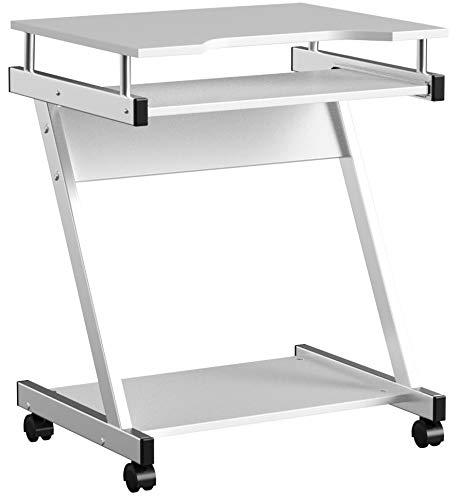 VASAGLE Schreibtisch, Computertisch mit 4 Rollen, 2 davon mit Bremsen, PC-Tisch leichtgängiger Tastaturauszug, erleichterte Montage, platzsparender PC-Tisch in Z-Form Weiß LCD811W
