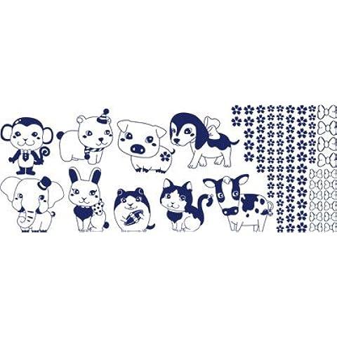 """Adesivo da parete Set Tatuaggi per bambini e animali cricetinae""""fattoria Zoo (dimensioni=150 x 57 cm//Colore=049 blu oltremare) - Zoo Blu Animali"""