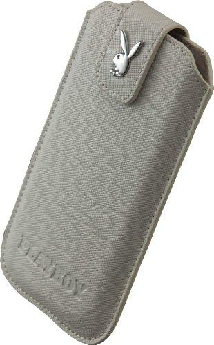 Playboy 13637 Case für Samsung i9300 Galaxy S3/i9505 Galaxy S4, HTC One Mini Größe XXL Cross Leder weiß