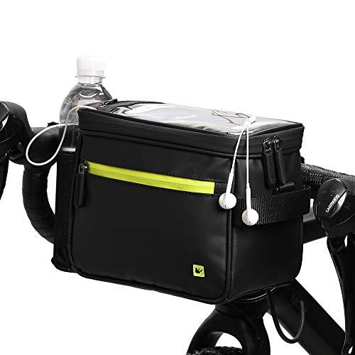 Selighting Impermeable Bolsa de Manillar de Bicicletas de Carretera y de Montaña para Ciclismo, Incluye Correa para el Hombro Extraíble y Cubierta para la Lluvia (Negro con Verde)