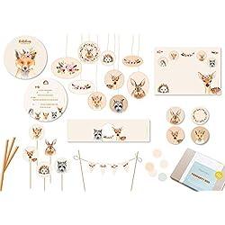 Einladung, Dekoration und Spielideen für Kindergeburtstag und Babyparty zum Motto Tiere im Bohostil (10 Kinder)