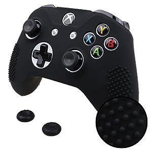 Pandaren® STUDDED Silikon Hülle Anti-Rutsch für beide Xbox One S, Xbox One X controller x 1 (schwarz) + thumb grips aufsätze x 2