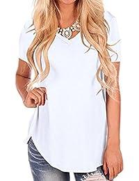 a49ec6e59b12 QinMM Frauen Kurzarm V-Ausschnitt Unregelmäßige lose Saum Casual Tee  T-Shirt Tops