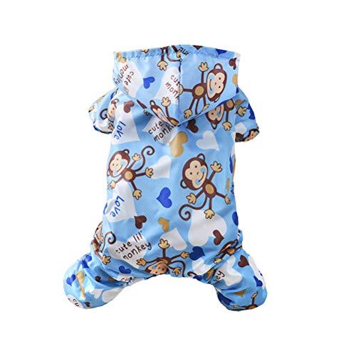 (Haustiere Overalls Hunderegenmantel Cute Monkey Print Wasserdicht Bequem Atmungsaktiv Leichte Kleidung Geeignet für Kleine und Mittlere Haustierkleidung)