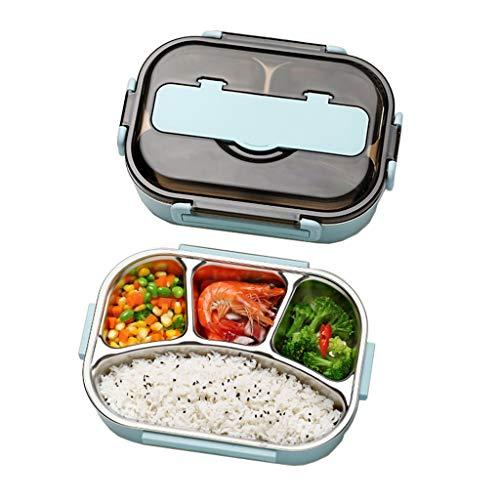 Brotdose 4-Grid Lunch Box Bento Einzel Isolierte Tragbare 1.3L Partition Container Fach 304 Edelstahl Auslaufsichere Tasche Teen School Office 26,5 * 20,5 * 7,5 cm MUMUJIN (Color : Blue) (Office Glas Lunch-box)