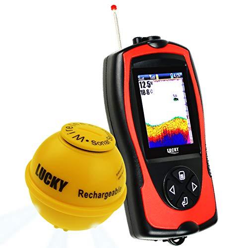 LUCKY Kabellos Sonar Fisch Finder Licht Locken Sensor Fischfinder Meer Angeln 45m Tiefe 100m Betriebsbereit Angebot