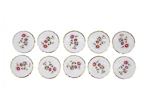 Miniblings 10x Teller Puppenhaus Puppenstube Teller Porzellan Pinke Blümchen Landschaft -