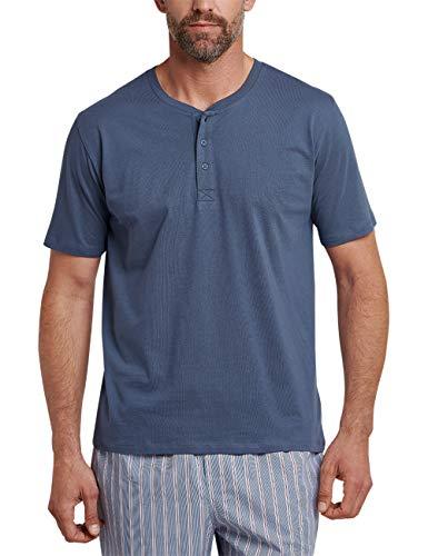 Schiesser Herren Mix & Relax T-Shirt Knopfleiste Schlafanzugoberteil, Blau (Indigo 824), X-Large (Herstellergröße: 054)