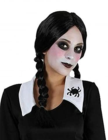 Ladies Black Plait Plaited Wig Addams Family Wednesday Halloween Accessory Fancy