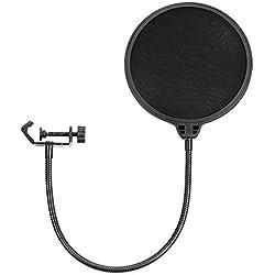 Neewer NW (B de 3) 6 pulgadas Forma Redonda Studio Micrófono Mic Viento Pop Protección Máscara Cartel con Stand Clip (filtro en negro)