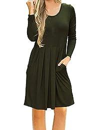 Vestido para Mujer Mujer ,BBestseller Mujer Vestido Blusa de Solapa Casual para Mujer Vestido Largo