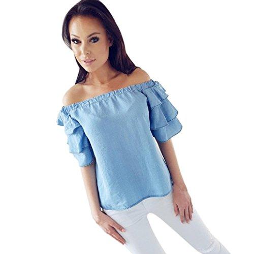 men Sommer Tops Schulter lose Hemd Mode Damen Sommer Casual Bluse Top Hemd (Asian XL(Bust:104-116cm/40.9