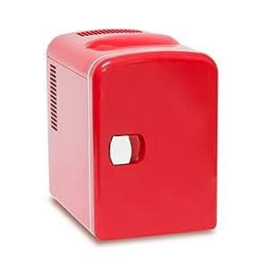 Relaxdays Mini Kühlschrank für Auto, Hotel, Warmhaltebox 4 l, Kühlbox elektrisch 12 V 230 V, HxBxT: 28 x 18 x 25 cm, rot