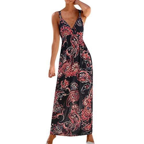 CUTUDE Damen Kleider Röcke Kurzarm Sommerkleider Frauen Bohemian Sleeveless V-Ausschnitt gedruckt knöchellangen Kleid Partykleid (Schwarz, X-Large)