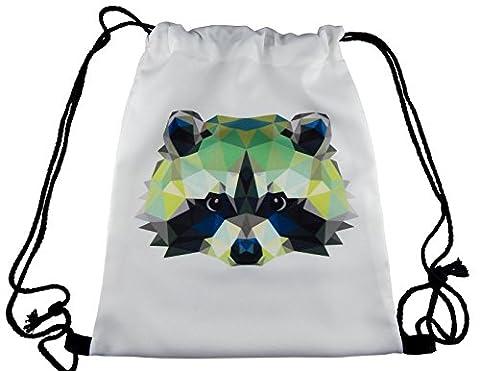 Hanessa Jutebeutel mit Waschbären Tier Aufdruck Sportbeutel Tüte Rucksack Beutel Tasche Gym Bag Gymsack Hipster Fashion Sport-tasche Einkaufs-tasche Weiß Wasch-bär