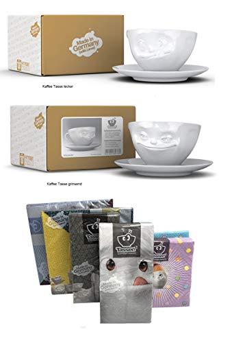 FIFTYEIGHT PRODUCTS Kaffeetassen 2er Set + Servietten, 200 ml, LECKER+GRINSEND