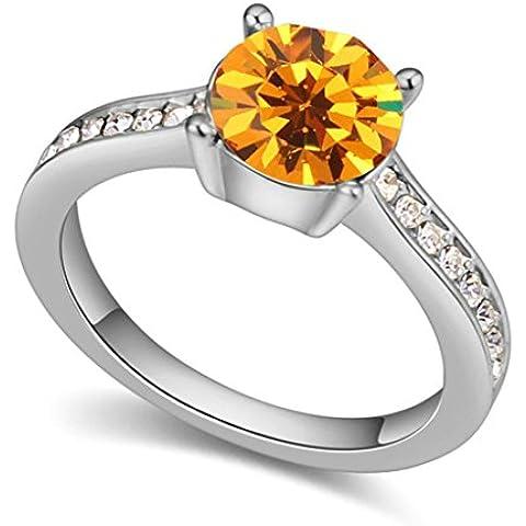 AieniD Anelli Donna Matrimonio Placcato Oro Solitaire Tondo Zirconia Cubica Fidanzamento Anelli per Donne