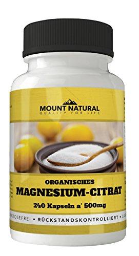 Magnesiumcitrat - 240 Kapseln a 500 mg - Frei von Zusatzstoffen wie Magnesiumstearat - 100% vegan, hochdosiert, laborgeprüft - Made in Germany - keine Gelantine - Qualitätsgarantie