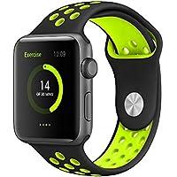 Correa Apple Watch 42mm Pulsera iWatch de Reemplazo Ajustable, Banda Silicona para Reloj Apple, Brazalete Deportivo Flexible y Transpirable para Apple Watch Series 1 / 2 / 3, Negro y Amarilllo