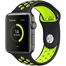 Correa Apple Watch 42mm Pulsera iWatch de Reemplazo Ajustable, Banda Silicona para Reloj Apple, Brazalete Deportivo Flexible y Transpirable para Apple Watch Series 1 / 2 / 3, Negro y Amarilllo