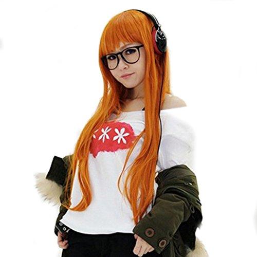 Mädchen Cosplay Perücke Orange Lange Gerade Wig Halloween Verrücktes Kleid Für Damen