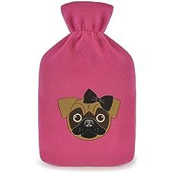 Botella de agua caliente con diseño de o de perro Bulldog francés de peluche super suave cubierta Premium caucho Natural 1litro bolsa de agua caliente–Ayuda a proporcionar calor y confort rosa Pink- Pug