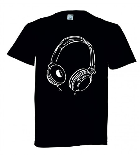 T-Shirt KOPFHÖRER- Musik- Unterhaltung- Audio- Ton- Stereo- DJ- Studio- Musical- Technologie- HÖREN- MP3- MODERN in Schwarz für Herren- Damen- Kinder Technologie Audio