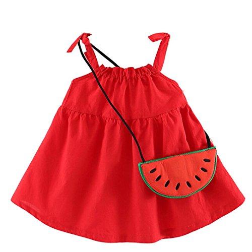 Beikoard Niña Vestido Liquidación, Vestido de Verano Niño niños niñas Bebe Sandãa sin Mangas Vestidos de Fiesta Ropa de Princesa (100cm/24M, Rojo)
