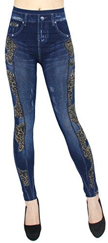 Bequemer Leggings Damen Hose Jeggings High-Waist in Jeans Optik - OneSize Gr.36-40 - JL230 (One Size - Geeignet für Gr. 36-40, JL237-TigerTiger)