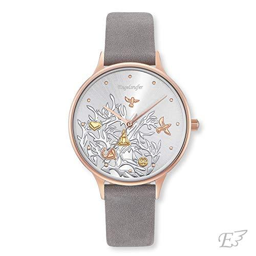 Engelsrufer - Lebensbaum Edelstahl Armbanduhr mit Nubuk Lederarmband für Frauen, rosegoldene Damen Uhr mit grauem Armband, klassische schmale Vintage Damenuhr