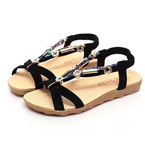 Damen Sandalen Flach Goosun Frau Sommer Praktisches Sandalen Schuhe Peep-Toe Niedrige Schnürschuhe Römisch Sandalen Flip-Flops Slippers Riemchensandalen Flach Strandschuhe Sandalette (42, Schwarz)