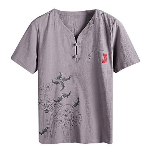 UINGKID Herren T-Shirt Kurzarm Slim fit Mode Herbst Winter Button Casual Leinen und Baumwolle Bluse -