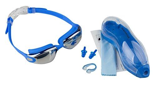 Occhialini da Nuoto - Anti appannamento - Impermeabili - Protezione UV 100% - Occhialini Adulto 180 gradi - Per uomini, donne, ragazzi +10 anni-GRATIS Custodia Protettiva e Tappi Orecchie, Blu, HAHAHA