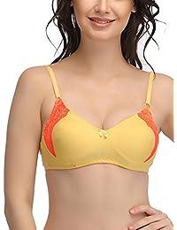 fa65e43e68 Clovia Women s Cotton Non Padded Wirefree Lacy Full Cup Bra - Yellow