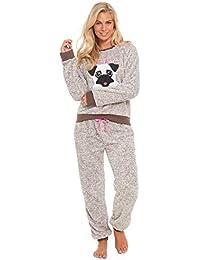 Slumber Hut® Ladies Pug Dog Llama Fleece Pyjamas - Luxury Womens Animal Novelty Loungewear Twosie Pajamas PJs - Size UK 8 up to 22