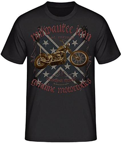 Biker T-Shirts Milwaukee Chopper Bobber Skull V2 Motorrad Serie (XL, Shovelhead live to ride USA back)