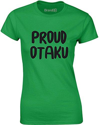 Brand88 - Proud Otaku, Gedruckt Frauen T-Shirt Grün/Schwarz