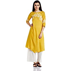 W for Woman Women's Asymmetrical Hemline Kurta (17AU16869-50038_Mineral Yellow_10)