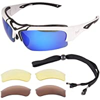 Rapid Eyewear Toledo White Adjustable POLARIZED SPORTS SUNGLASSES with Interchangeable Lenses for Men and Women. UV 400 Anti Glare Glasses for Cricket, Running, Skiing, Cycling, Driving etc