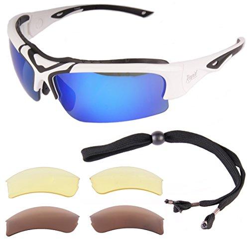 Rapid Eyewear Toledo Weiß UV Schutz 400 SPORTBRILLE POLARISIERT mit Wechselgläsern für Damen und Herren. Sonnenbrille mit Blau Verspiegelt Linsen
