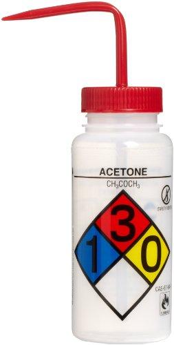 bel-art f11816-0001das safety-vented/Etikettiert Vierfarb Aceton wide-mouth Waschen Flaschen; 500ml (16oz), Polyethylen W/Rot Polypropylen Gap (4Stück) Rot Wide Mouth