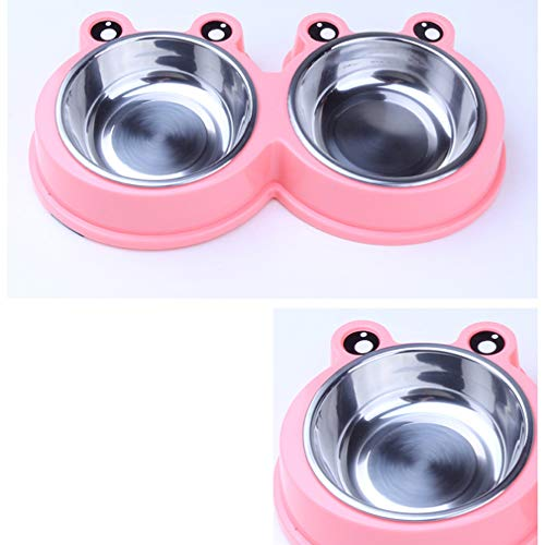 HYhy Pet Bowl Tray Doppel Edelstahl Schalen Frosch Form Rutschfeste Verdicken Hundenapf Wasser Futternapf für Kleine Hunde und Katzen, Rosa -
