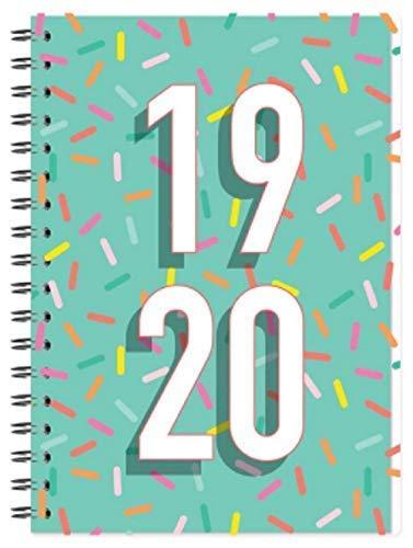 2019-2020 A5 Wiro Gebunden Jahresmitte Akademischer Wochenansicht Kunststoff Abdeckung Tagebuch Planer Organiser Journal 3899 - Blaugrün mit Streuseln