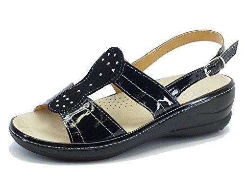 Sandali Cinzia Soft in vernice nera sottopiede estraibile Nero
