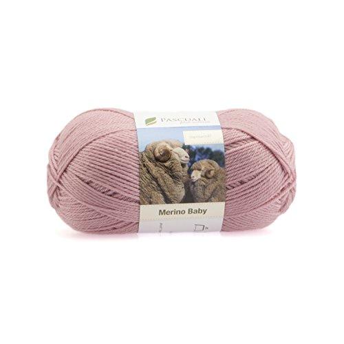 50g Pascuali Merino Baby Strickwolle aus feinste Merinowolle Superwash 100% Wolle, Farbe:altrosa 10 (Strickjacke Lace Wolle)