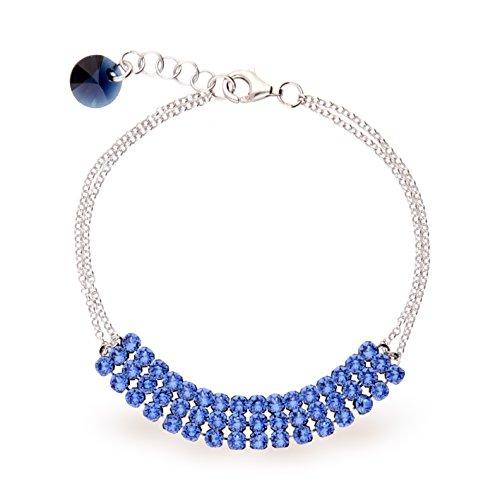 Exclusif® Cristaux Swarovski dans Ana Morales-Bracelet Femme-Argent 925/1000 Aqamarine Hellblau