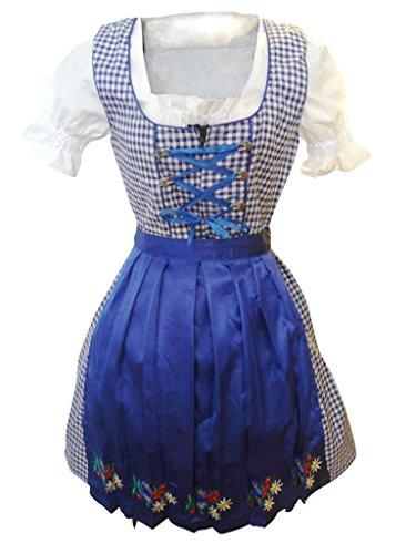 Di12 Midi Dirndl, 3 teiliges Trachtenkleid in blau kariert, Kleid mit Bluse und Schürze, Rocklänge 56 cm, Gr. 48